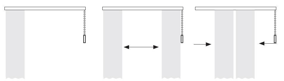 Ovládání závěsu - k jedné straně, opona a do středu