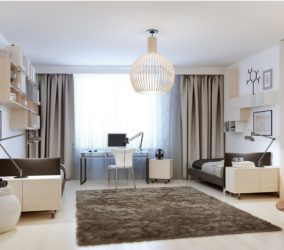Závěs do oken hnědý v obývacím pokoji