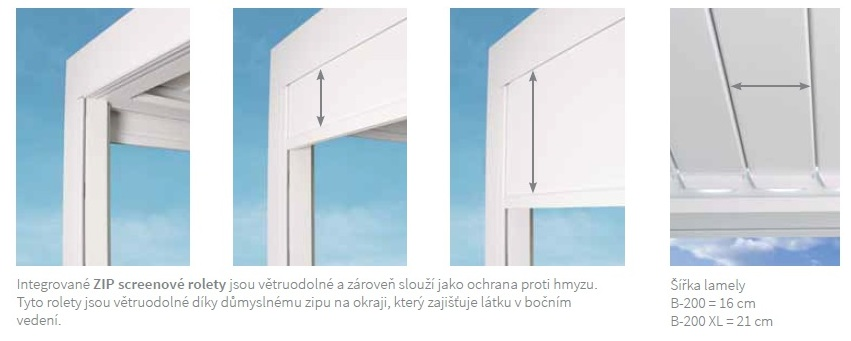 Pergola Brustor - zip screenové rolety