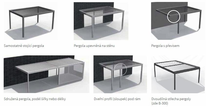 hliníkové pergoly můžeme nechat vyrobit v různém provedení