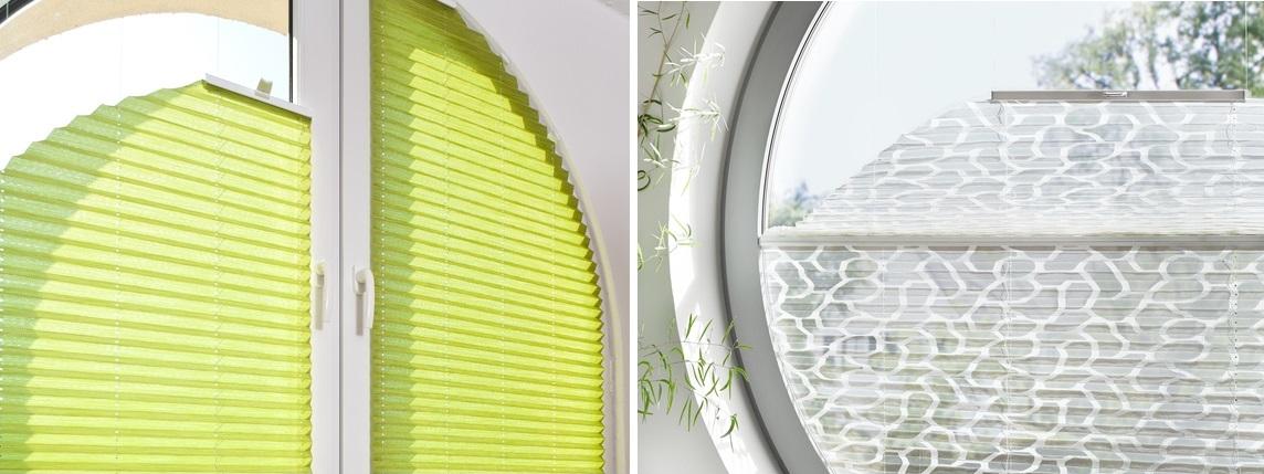 látkové Plisé žaluzie v atypických oknech půlkulatá a kulatá