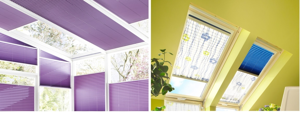 Plisé látkové žaluzie pro zimní zahrady, světlíky a střešní okna