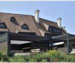 hliníkové pergoly Brustor u velkého rodinného domu