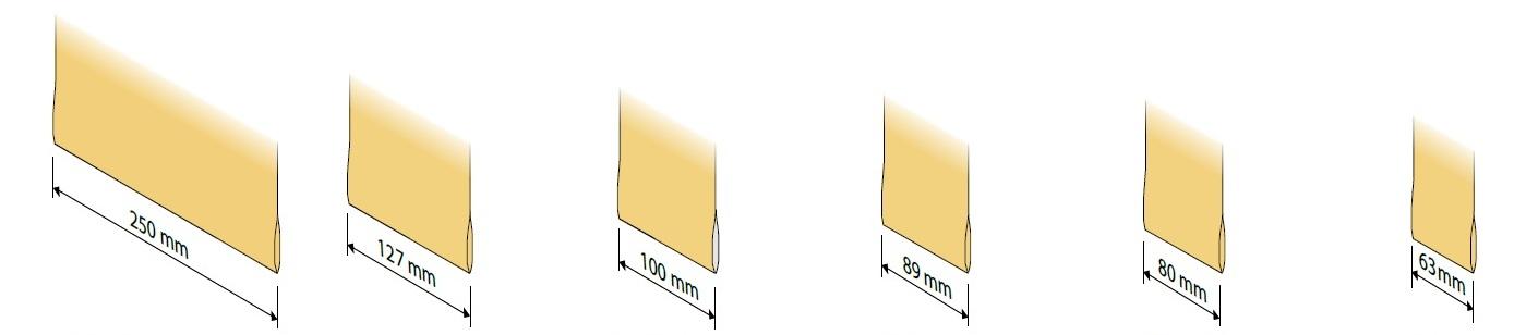 různé velikosti lamel na vertikální žaluzie