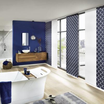 japonská posuvná stěna modrá
