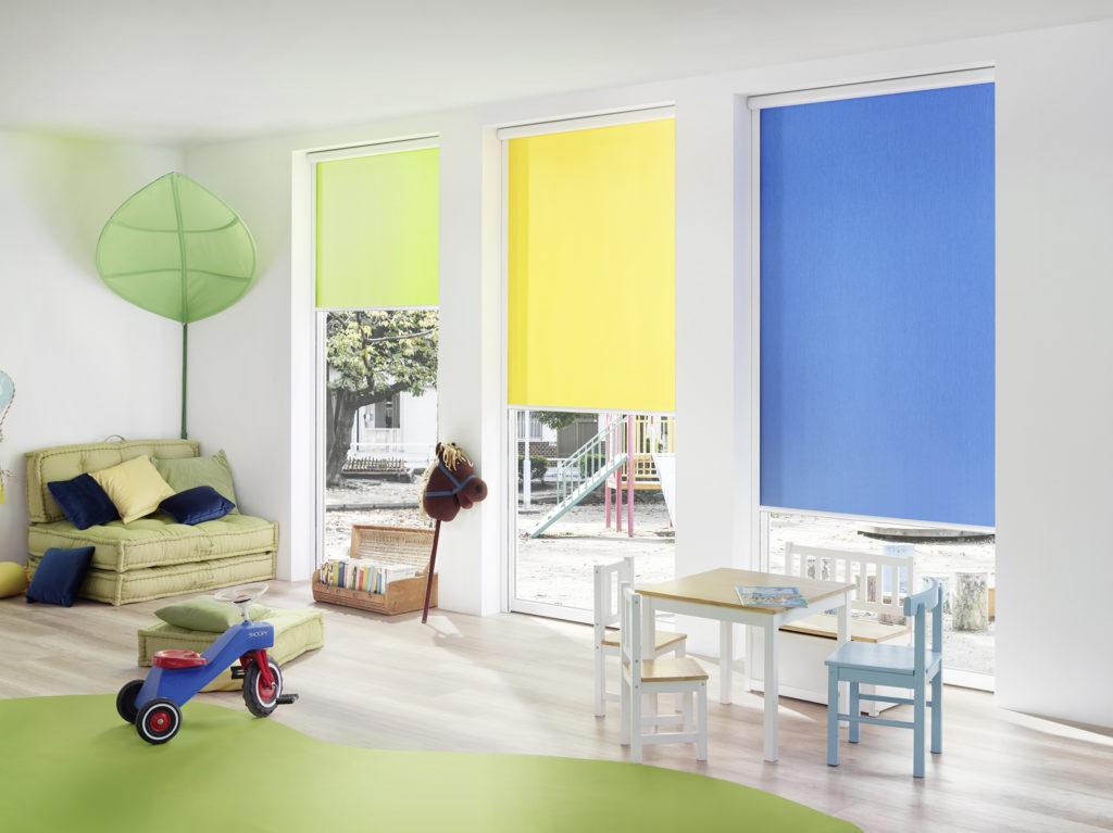 Roleta Erfal zelená, žlutá a modrá