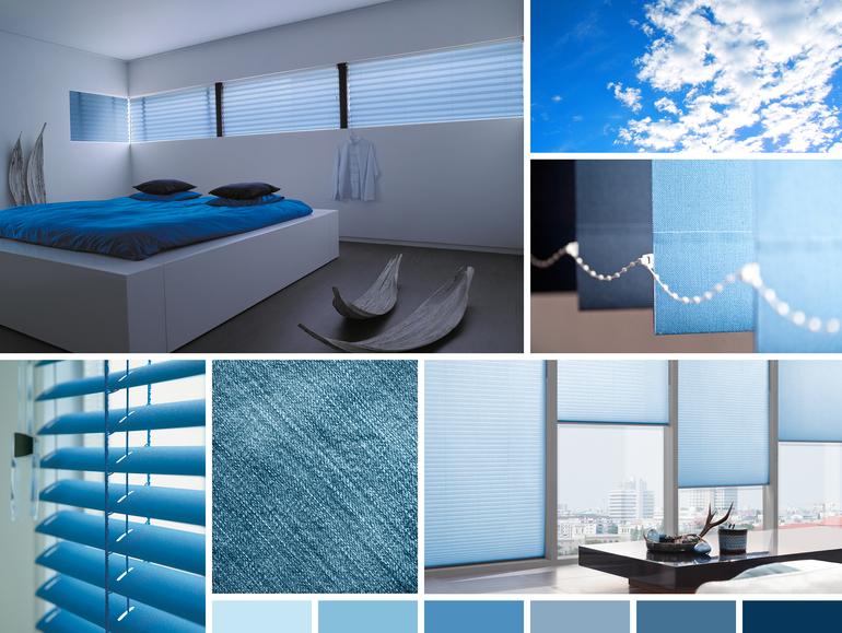 stínění na okna modrá barva