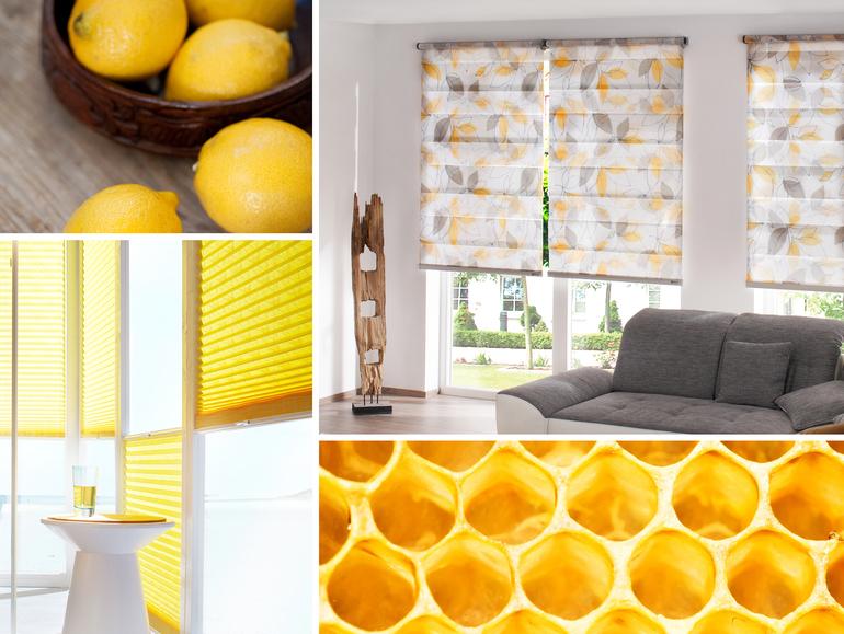 stínění na okna žlutá barva