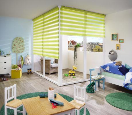 zelená duo roleta v dětském pokoji