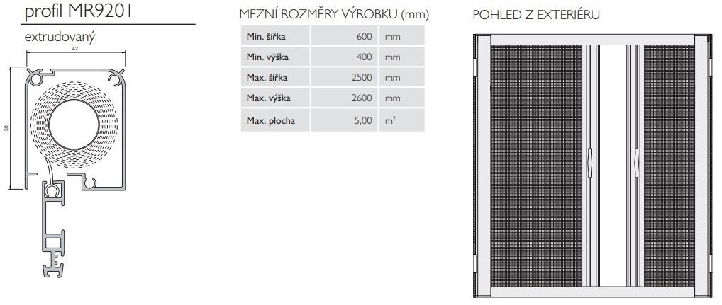 rolovací síť pro dvoukřídlé dveře