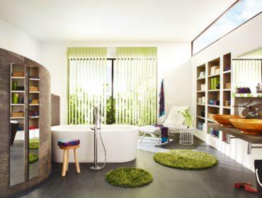 zelene vertikalni zaluzie v koupelne