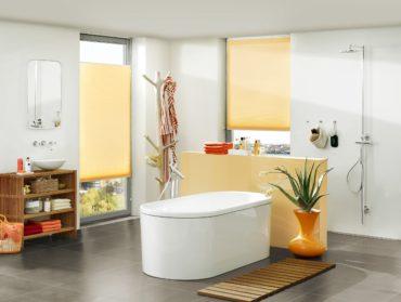 zlute plise zaluzie v koupelne