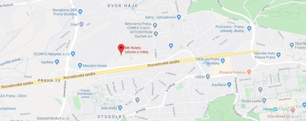 mapa google vzorkovna Praha MK Rolety