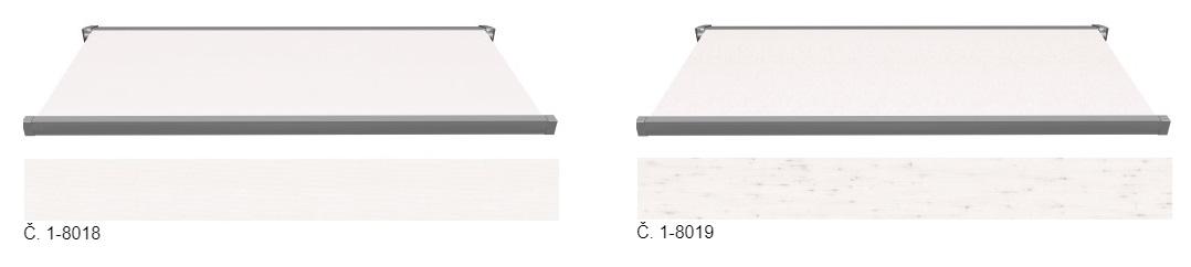 markýzy světle bílé a šedé