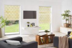 žlutá vnitřní roleta den a noc s upevněním nad okno