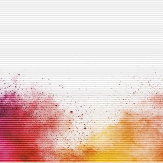 plisé Duette DELHI žlutá a červená dole roztažená