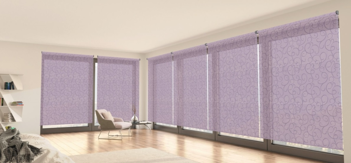 fialové průsvitné látkové rolety