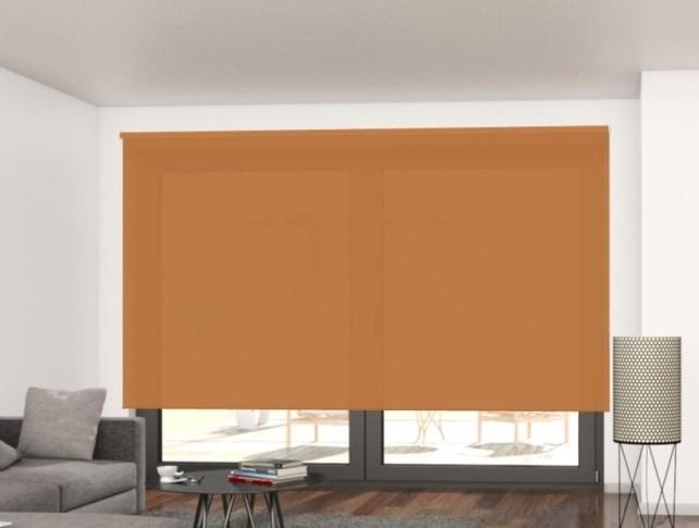 oranžová průsvitná látková roleta