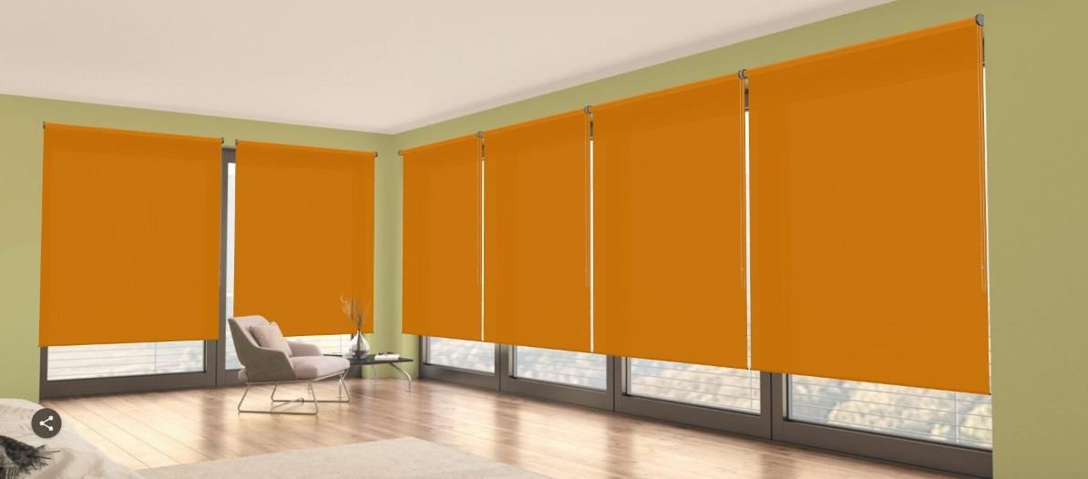 poloprůhledné oranžové látkové rolety