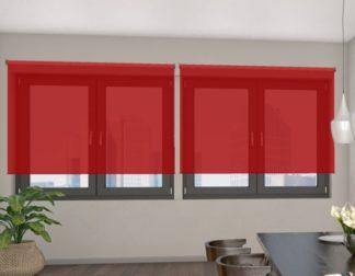 poloprůhledná červená látková roleta