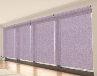 průsvitná fialová látková roleta