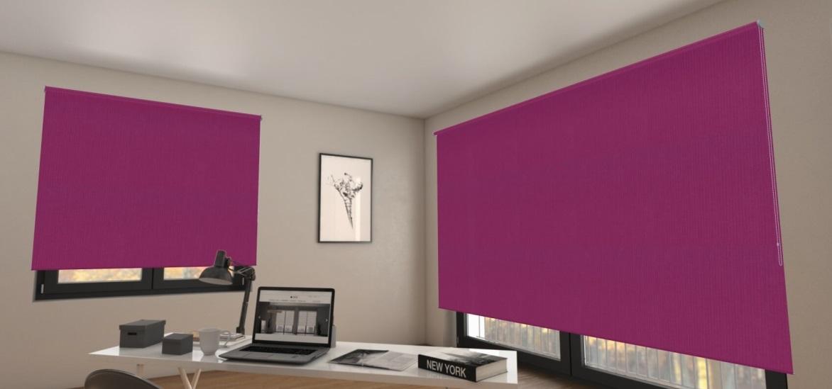 zatemňovací fialové látkové rolety