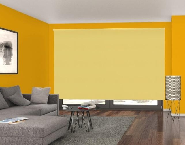 žlutá zatemňovací látková roleta